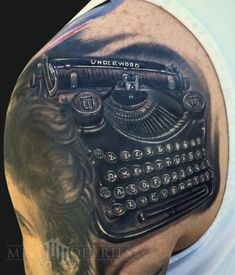 I genuinely appreciate the colors and shades, lines, and depth. This is an incredible tattoo design if you really want a Old Typewriter Font, Typewriter Tattoo, Cover Up Tattoos, Cool Tattoos, Tattoo Designs, Tattoo Ideas, Teacup Tattoo, Incredible Tattoos, Future Tattoos