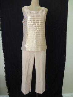 69.89$  Buy now - http://vitxg.justgood.pw/vig/item.php?t=tobesbd38525 - J Crew Outfit Sleeveless Top Pleated Blouse Pink Gold Metallic Crop Pants Sz 4