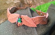 Small Elven Inspired Hand Tooled Leather Dog Collar, Amish Leather Gone Wild Pet Products