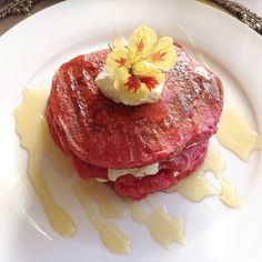This is probably still my favorite in the world. I had it at Morrel's Boutique in created for me by my private chef. Read more foodie stories in magazine. Breakfast Around The World, Red Velvet Pancakes, Private Chef, Sour Cream, Whipped Cream, Magazine, Dishes, Pancake Recipes, Sweet