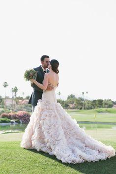 The most stunning blush wedding gown! | Meg Ruth Photo