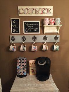 Coffee Bar complete! #diy #coffeebar #starbucksmugcollection #anthromugs #keurig Coffee Corner, My Coffee, Coffee Mugs, Coffe Bar, Coffee Mug Display, Coffe Table, Starbucks Mugs, Bar Ideas, Diy Organization