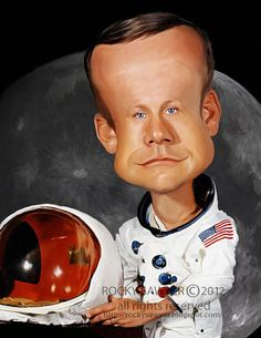 Caricatura de Neil Armstrong