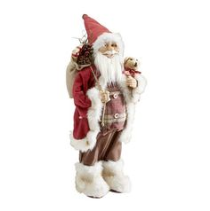 Dieser Weihnachtsmann bringt eine fröhliche Note auf Ihre Fensterbank oder Kommode. Die ca. 60 cm große Figur trägt einen süßen Hundewelpen auf dem einen Arm und einen Sack voller Geschenke auf dem anderen. Die rote Zipfelmütze und die kuscheligen Schuhe bringen weihnachtliches Flair in Ihre vier Wände. Eine Dekoidee, die für Heiterkeit sorgt!