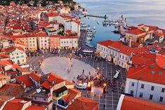 Tartini Square in Piran, one of three notable cities along Slovenian Istria ... Piran, Slovenia