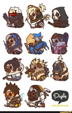 Puglie Overwatch Series 1 You know, the world could always use more heroes :] Cute Animal Drawings Kawaii, Cute Drawings, Overwatch Cats, Pugs In Costume, Pug Cartoon, Overwatch Wallpapers, Pug Art, Simple Cartoon, Cute Chibi