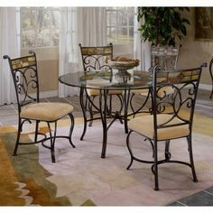 Hillsdale Pompei 5-Piece Dining Set with Glass Top-Black Gold/Slate Mosaic by Hillsdale. $899.99. Decorative scrollwork and distinctive mosaic designs distinguish the Pompei 5-Piece Dining Set with Glass Top - Black Gold/Slate. This ornate casual design offers both style and comfort in spades. Part of the Pompei collection this set includes a round dining table top and base as well as a quartet of matching side chairs. Designed to seat four people comfortably the t...