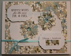 I made this wedding card from their wedding invitation papers.  ~ Vickie H.