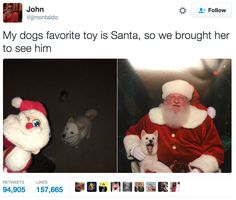 "This <a href=""https://www.buzzfeed.com/juliareinstein/these-siblings-took-their-dog-to-meet-santa"">exciting meeting</a>:"