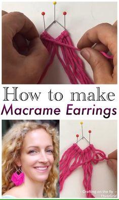Diy Thread Earrings, Macrame Earrings Tutorial, Macrame Tutorial, Earring Tutorial, Crochet Earrings, Tassle Earrings Diy, Crochet Jewelry Patterns, Macrame Patterns, Macrame Wall Hanging Diy