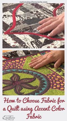 "Heather Thomas delivers unique tips for choosing fabrics for your quilt with accent colors. Learn how to find something that ""Pops"" against all the other colors you plan on using for your quilt. See several examples and what accent colors compliment each other. Make a beautiful and colorful quilt by using these helpful tips. Quilting Fabric, Quilting Tips, Quilting Tutorials, Quilting Designs, Bright Quilts, Colorful Quilts, Crochet Quilt, Knit Crochet, Sewing Tips"