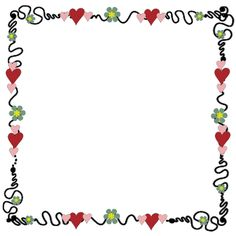 cute squiggly hearts border