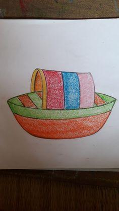 Basic Drawing For Kids, Easy Art For Kids, Easy Drawings For Kids, Small Drawings, Art Lessons For Kids, Boat Painting, Painting For Kids, Children Painting, Oil Pastel Art