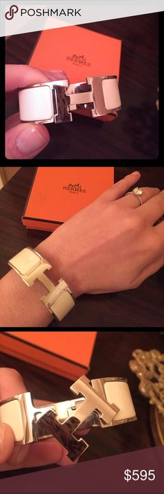 Authentic Hermes white/silver clic clac H bracelet Authentic Hermes Clic Clac H bracelet in white/silver. Minor scratches to the silver. Purchased from Hermes on Madison Ave. in 2015. Comes with Hermes box, jewelry sleeve, and retail bag. Hermes Jewelry Bracelets