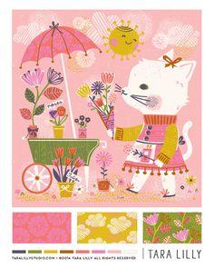 Art and Illustration by Tara Lilly Studio: Lilla Rogers' GTS Round 2 Graphic Design Illustration, Graphic Illustration, Cat Doodle, Thing 1, Estilo Retro, Fabric Painting, Illustrators, Pattern Design, Artsy