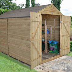 x Pressure Treated Windowless Overlap Apex Shed with Double Doors Garden Storage Shed, Storage Shed Plans, Garden Sheds, Metal Shed, Wood Shed, Shiplap Cladding, Apex Roof, Plastic Sheds, Houses