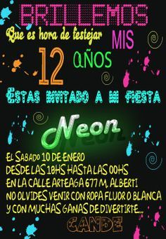 tarjetas neon party - Buscar con Google