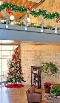 Blog for Christmas Decorating a business. Show Me Decorating's Corporate Christmas #christmastrees #christmasdecor #christmasideas #redgreenandsilver,  #SmallBusiness, #Red, #Platinum