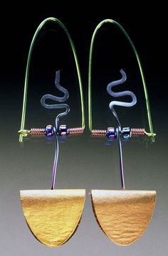 Kirk McCarthy earrings created with Niobium. so pretty.. see more...   http://kirkmccarthy.com/jewelry.html