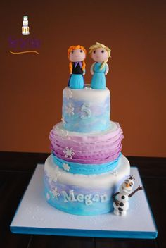 Anna, Elsa & Olaf Frozen 3 Tier This is a 3 tier 6 & I've done so many Frozen cakes in recent months, so I was really. Anna Frozen, Frozen Two, Olaf Frozen, Disney Frozen, Frozen Theme Cake, Frozen Party, Disney Themed Cakes, Anna Cake, Elsa Cakes