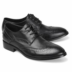 Men Black Leather Lace Up Wedding Prom Business Dress Brock Shoes SKU-1100415