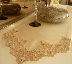 Lace Wedding, Wedding Dresses, Cas, Table Runners, Ribbon, Table Decorations, Silk, Sewing, Easy Recipes