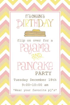 Chevron Pancake & Pajama party invitation by designink on Etsy, $12.99