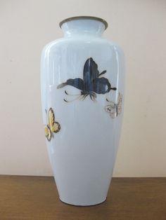 1920 s Ando Japanese Cloisonne Vase BUTTERFLY marked copper rim art-nouveau    eBay