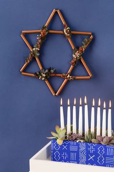 Save this Hanukkah DIY project to learn how to make a copper Star of David wreath + a succulent menorah. Hanukkah Crafts, Hanukkah Decorations, Festival Decorations, Kwanzaa, Diy Wreath, Wreaths, Rustic Christmas Ornaments, Sensory Garden, Star Of David