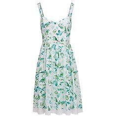 Joe Browns Bird Print Dress (110 BGN) ❤ liked on Polyvore featuring dresses, pattern dress, midi dress, joe brown dresses, beachy dresses and lace trim dress