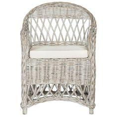 Inez White Wash Rattan Arm Chair, White Washed