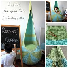 Love this hanging seat that you can make yourself from yarn!! great for a kid's room :)
