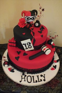 Beautiful Picture of Harley Quinn Birthday Cake Harley Quinn Birthday Cake Holly Had Harley Quinn For Her Birthday Theme Harley Quinn Birthday Cake Pictures, Birthday Cakes For Teens, Themed Birthday Cakes, Birthday Bash, Birthday Ideas, Sweet Sixteen, Harley Quinn, Joker Cake, Teen Cakes