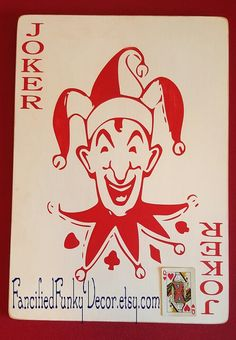 Pictured is a vintage joker playing card hand painted onto 1/4 quality plywood with a fiber core center. This helps minimize warping