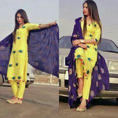 hani🌹🌹 Chudidhar Designs, Kurta Designs, Indian Dresses, Indian Outfits, Punjabi Suits, Punjabi Girls, Punjabi Dress, Berta, Embroidery Fashion
