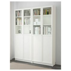 Ikea - billy / oxberg bookcase white storage ideas мебель, м Billy Bookcase With Doors, Bookcase White, Billy Bookcases, Billy Oxberg, Glass Cabinet Doors, Glass Doors, Glass Shelves, White Cabinet, Ikea Shelves