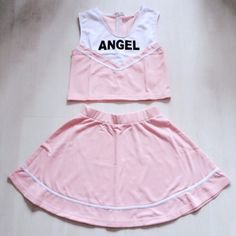 Dolls Kill Cheerleader Set skirt and top pink Size m, pink, worn once. Sold out on website. Dollskill unif kawaii pastel cosplay anime festival UNIF Dresses Mini