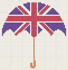 Umbrella + Union Jack = adorableness! // Technically cross stitch but that's never stopped me before... ;)