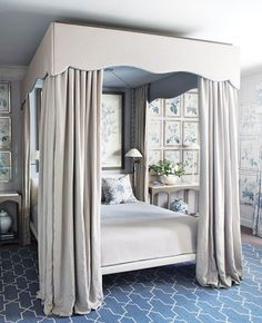 Master Bedroom Ideas. 35 Dreamy Canopy Beds Fit for Royalty | John Jacob fabulous master bedroom with gorgeous canopy | blue and taupe and great botanical prints