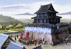 Japanese Buildings, Japanese Architecture, Ancient Architecture, Warhammer Terrain, Japanese Castle, D&d Dungeons And Dragons, Fantasy Map, Samurai Warrior, Fantasy Miniatures