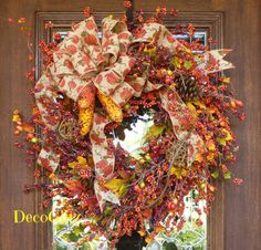 Fall BERRY Wreath with a Burlap PUMPKIN Bow and by decoglitz