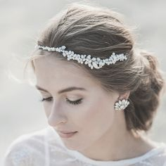 2015 S/S COLLECTION - OPAL CRYSTALS & FRESHWATER PEARLS HALO    Bridal headband/halo features hand wrapped freshwater pearls and crystals .