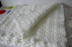 Crocheted Shell Baby Blanket in White    READY by fashionablekids, $50.00