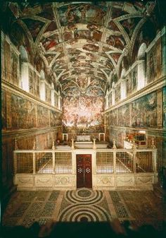 Sistine Chapel. I wonder about all the hidden meanings the artist could have incorporated into his paintings. Even in something simple like a sketch, every pencil stroke has a meaning and thought behind it.