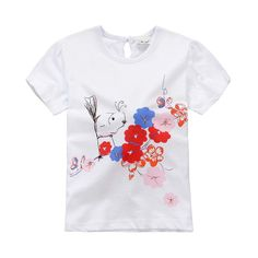 Jumping beans cotton kids baby infants girl short sleeve t-shirt flowers garden tee