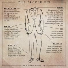 The Proper Fit - A Tailored Look, suit, tie, menswear, graphic design and illustration by Russell Shaw for Bearings