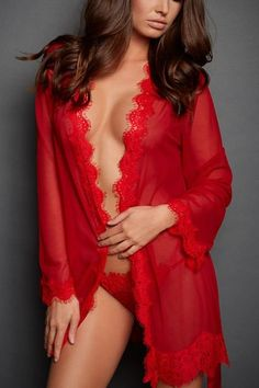 Sexy Red Lace Cassandra Sheer Robe Lingerie Sleepwear 64a423ba5