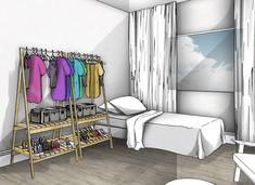 As vezes, quando o quarto é muito pequeno, fica difícil acomodar todas as roupas e acessórios sem que o guarda-roupas acabe virando um trambolho dentro do espaço. Mas existem alternativas divertidas e ousadas para variar a composição do quarto e integrar suas roupas na decoração... A sugestão do Decoradornet é…
