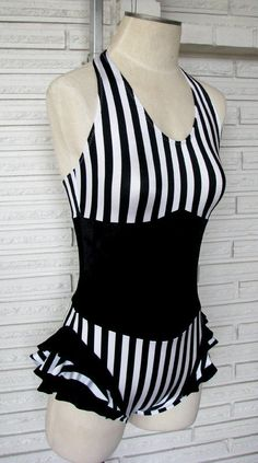 Vertical Stripe Ruffle Cirque Bodysuit, size Large - product images  of #strongwoman #SFTWF