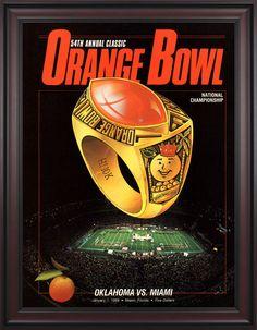 1988 Miami Hurricanes vs Oklahoma Sooners 36 x 48 Framed Canvas Historic Football Poster